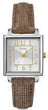 New TIMEX Womens Classics Analog Square Watch Brown Leather Strap - $29.97