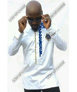 Odeneho Wear Men's Polished Cotton Top/Embroidery And Kente. African Clo... - $79.19+