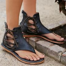 2018 Women Fashion Leisure Lace Up Flat Sandals Plus Size 41 42 43 Ladies Ankle