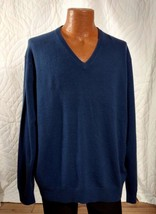 $195 Club Wear 2 Ply Estate 100% Cashmere V Neck Sweater Sapphire Navy B... - £64.75 GBP