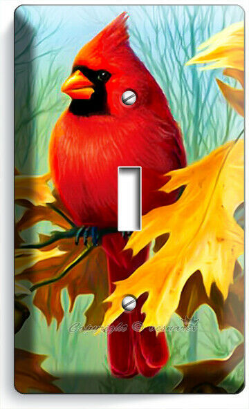 CARDINAL BIRD OAK TREE LEAVES ACORNS 1 GANG LIGHT SWITCH WALL PLATES ROOM DECOR