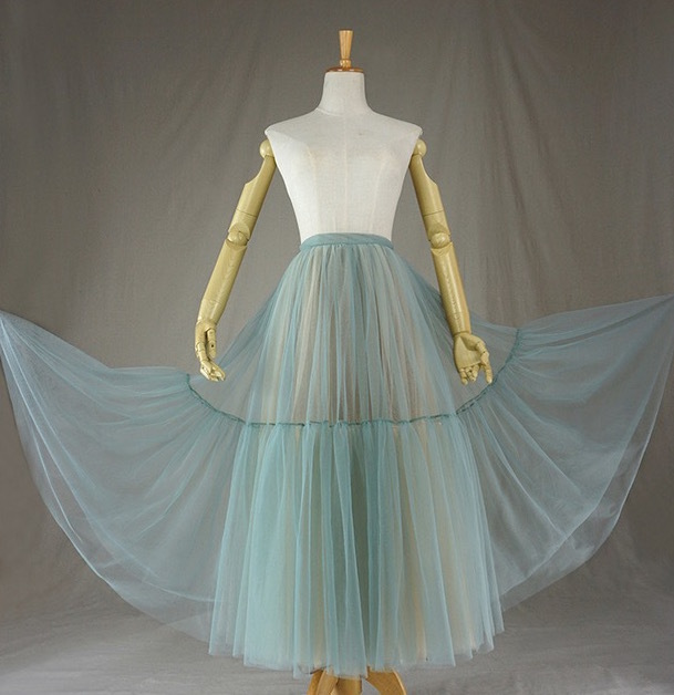 Women Tiered Maxi Tulle Skirt Misty Green Yellow Tutu Skirt Wedding Guest Skirt