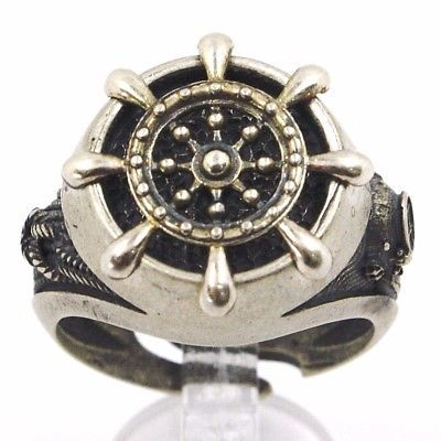 925 SILVER RING, BURNISHED AND SATIN, RUDDER, NAUTICAL ROPE, NAVY DIVER