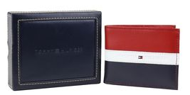 Tommy Hilfiger Men's Leather Wallet Passcase Billfold Rfid Red Navy 31TL220053 image 10