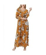 Women Dress Sexy Boho Casual Elegant Long Sleeves Floral Maxi Bodycon Su... - £20.51 GBP