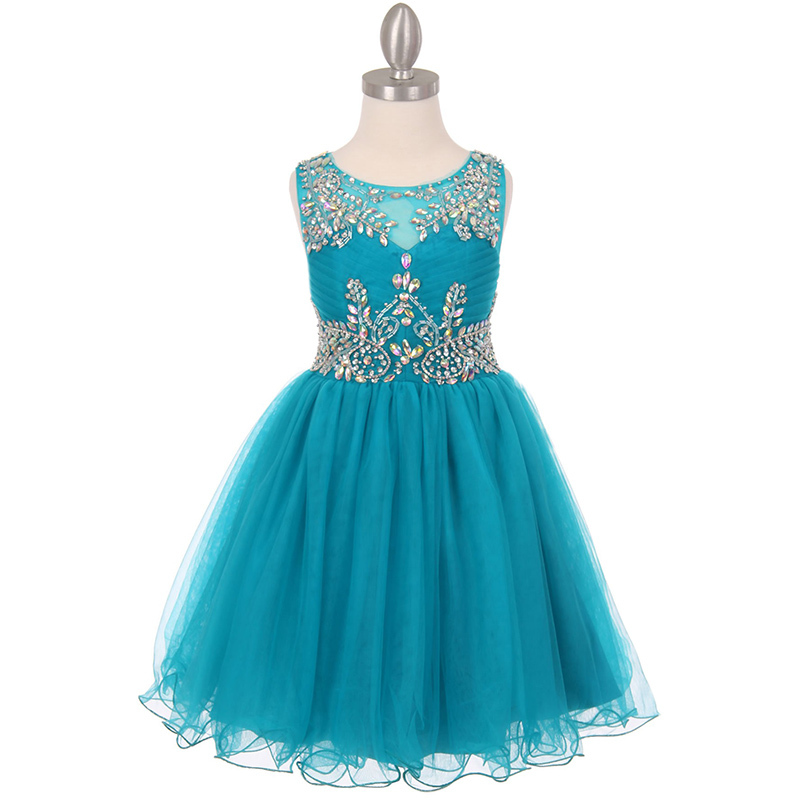 Coral Unique Design AB Stone Bodice Open Back Tulle Wired Skirt Girl Dress