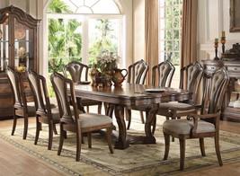 Acme 66170 Valleta luxury Latte Oak Pedestal Dining Table Set 9Pcs with Leaf