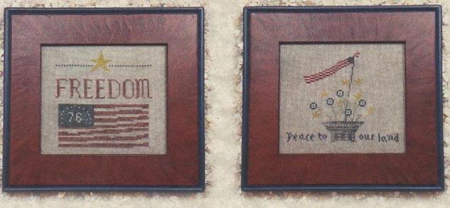 Patriot's Trio cross stitch chart Priscilla's Pocket Designs