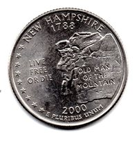 2000 D New Hampshire State Washington Quarter - Near Uncirculated About VF - $2.25