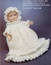 "Christening Gown 15"" for Doll Fibre Craft Crochet Pattern Booklet - $4.90"