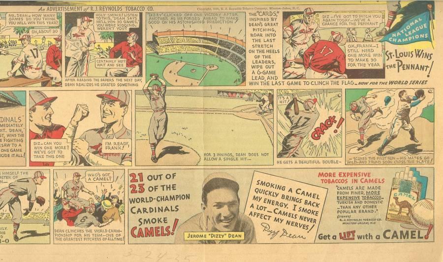 dizzy dean st louis cardinals comic ad camel cigarettes ad  world series rare