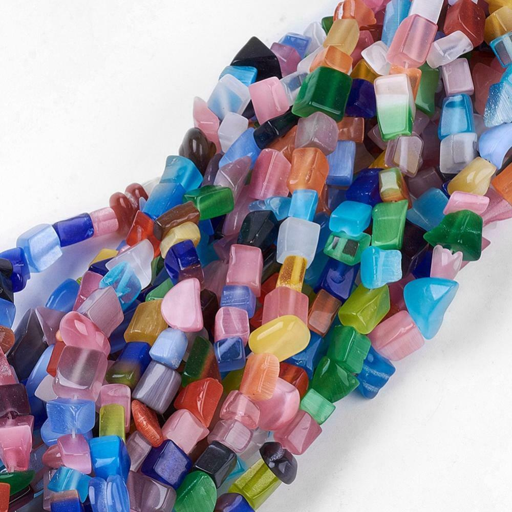 Mixed Millefiori Glass Chip Beads  assorted size chips 2-14 inch strands