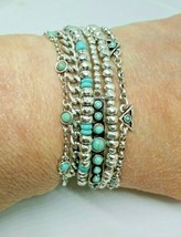 Lucky Brand Silver Tone Multi Chain Turquise Magnetic Bracelet - $13.99