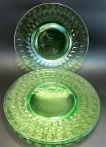 "Vintage Anchor Hocking Green Depression Glass Block Optic Lot 3 Plate 8"" - $17.82"