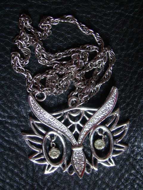 Owl Head Ajoure Silver Pendant Chain Necklace Retro
