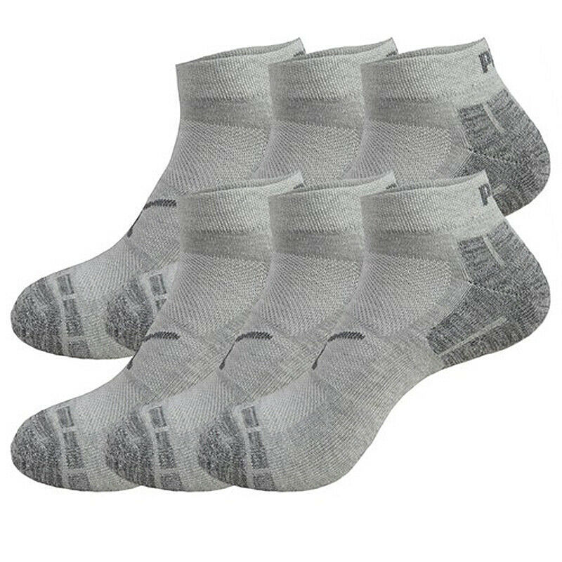 Puma Men's 6 Pack Low Cut CushionedGym Mesh Ventilated Logo Grey Socks
