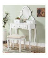 White 3 pc Vanity Set Oval Mirror Wooden Table Stool Makeup Drawer Bedro... - $182.06