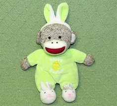 BABY STARTERS SOCK MONKEY HAPPY EASTER PLUSH RATTLE LIME GREEN BUNNY SLI... - $14.03