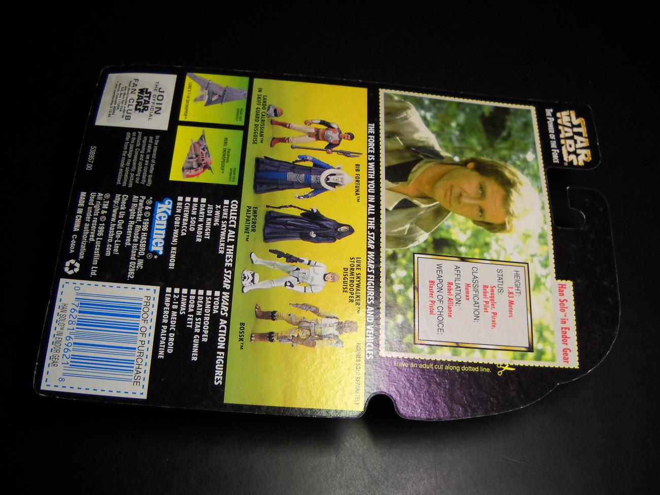 Star Wars POTF Hans Solo Endor Gear Action Figure Green Card Factory Sealed Card