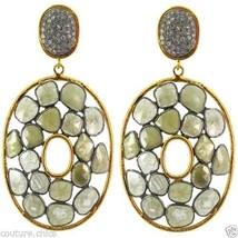 17.56 Ct Diamond Pave Dangle Earrings 14 K Gold 925 Sterling Silver Fine... - $4,553.01