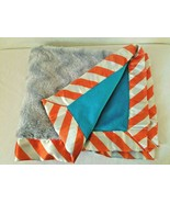 Little Wishes Hobby Lobby Baby Security Blanket Blue Grey Orange Chevron... - $24.20