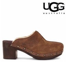 "$150 Ugg Plush Shearling Clogs 7 M Brown 3"" Heel Leather Upper Mules WAR... - $2.120,76 MXN"