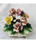 Nuova Capodimonte Floral Figurine Fine Porcelain Centerpiece Rose Basket... - $44.40