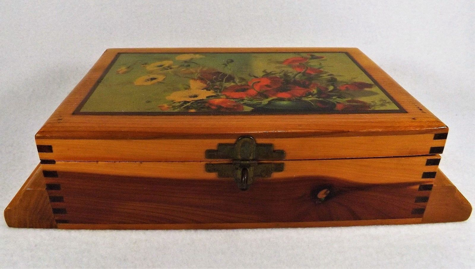 Antique Wood Jewelry Box Decoupage Top And 50 Similar Items