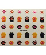 Nail Art 3D Decal Stickers Cat & Dog Paw Print, Kitty & Doggy Feet - $5.92