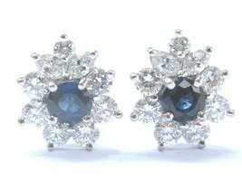 Tiffany & Co Platinum Victoria Blue Sapphire Diamond Earrings 1.63CT - $7,618.05