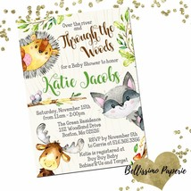 Woodland Baby Shower Invitation, Personalized, Forest Animals, Watercolor - $12.00