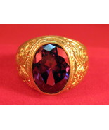 Vintage 14k solid yellow gold with Ruby & Diamond ring for men size 9 - $19.99