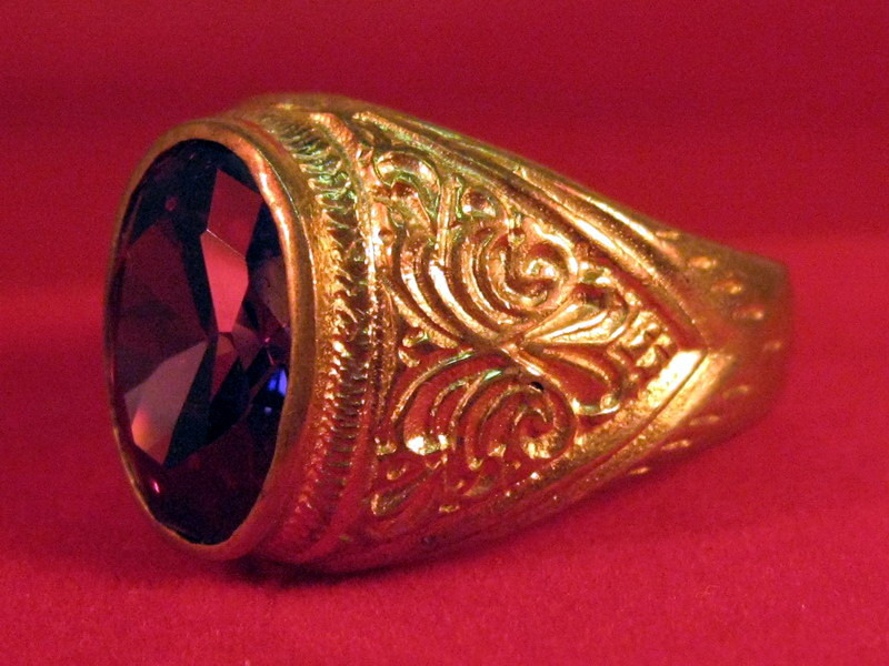 Vintage 14k solid yellow gold with Ruby & Diamond ring for men size 9