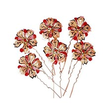 Retro Noble Elegant Red Crystal Gold Flower Hair Pins/Clips Headwears(Set of 6) - $15.86