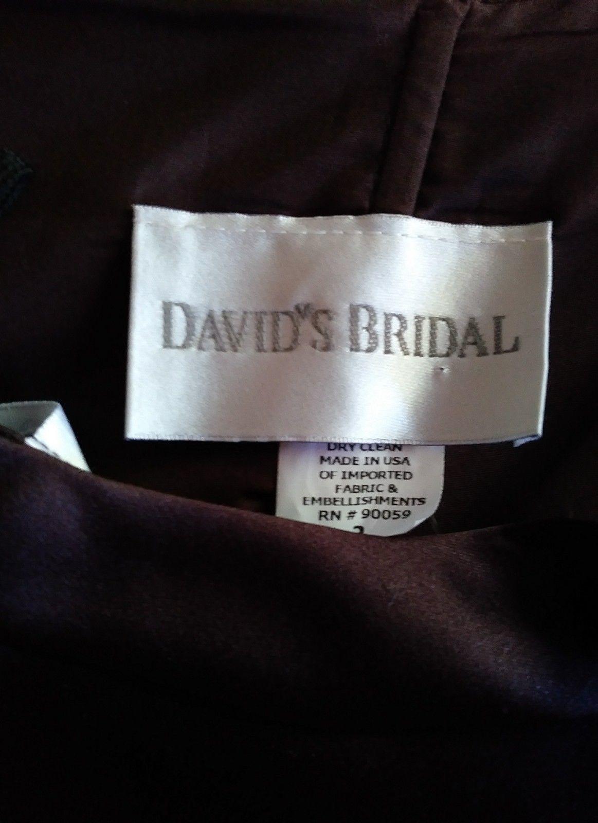 David's Bridal bridesmaid dress classic short style, halter top,brown sz 2