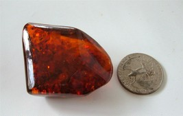 Vintage Baltic Amber Brooch Pin Chunk Polished 40s Occluded Organic Shap... - $34.64