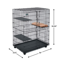 MidWest Cat Playpen Fold Metal large Cage 3 Shelves + Cat Bed, 4 Wheel C... - $117.17