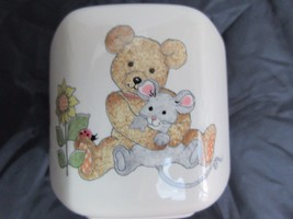 Vintage Mikasa Children's Bank Teddy Bear Mouse Ceramic Hexagon Made In ... - $15.42