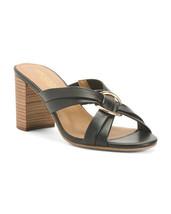 New Aerosoles Beige Black Leather Comfort Sandals Size 7 7.5 8 8 W 8.5 W Wide - $32.99