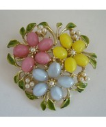 Vintage Coro fifties flower brooch with glass moon stone cabs and faux ... - $18.00