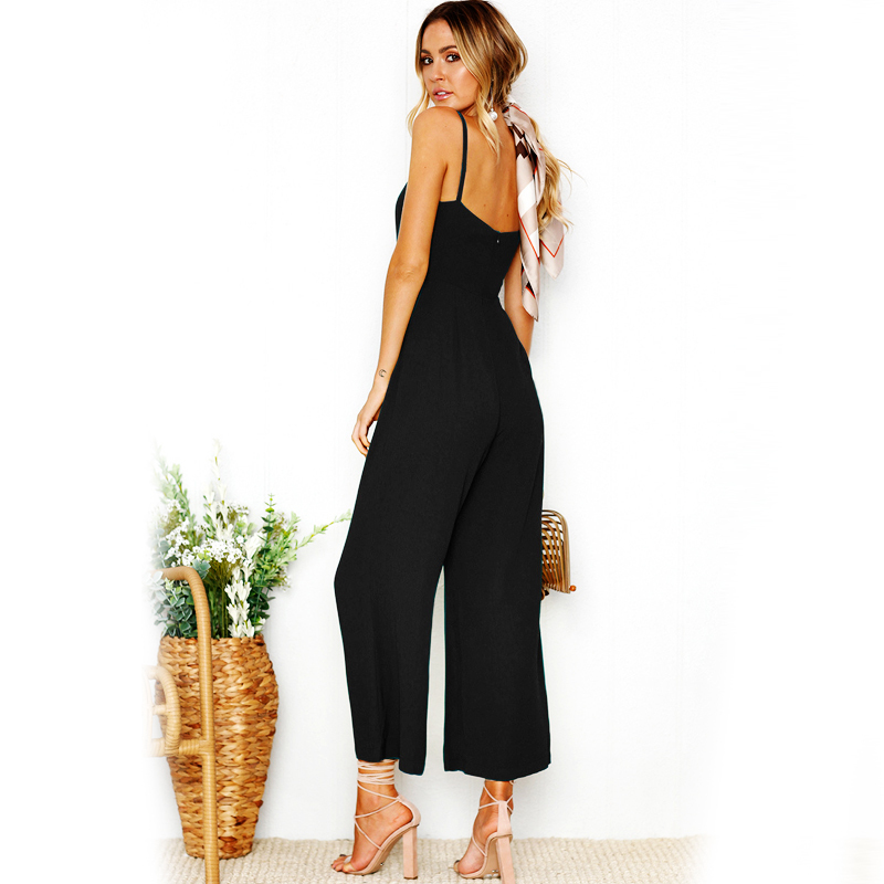 Amisole jumpsuit 2018 summer women ankle length pants bodysuits solid fashion higt waist rompers
