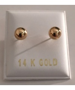 14kt Solid Yellow Gold Polished 4mm Ball Bead Screw Back Stud Earrings - $22.95
