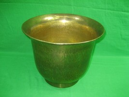 "Vintage Round Brass Planter Hammered 12"" Diameter Hong Kong - $27.07"