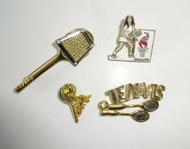 VTG 1980s Tennis Racquet Brooch Racket Gold Tone Pin Lot (Liz Claiborne Cherub+) - $16.04