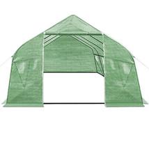 6x3x2m Garden Greenhouse Patio Polytunnel Windows Powder Coated Frame Lo... - $165.06