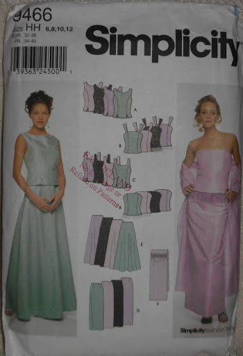 Simplicity 9466 Sewing Pattern Formal Evening Wear Weddings Proms Tops Skirts Wr