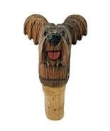 Hand Carved Wood Bottle Cork Dog w/ Fluffy Ears - $36.14