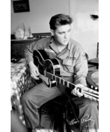 Elvis Presley in US Army Uniform Playing Guitar Famous Photo 24x36 Poste... - $12.99