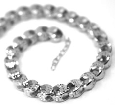 "18K WHITE GOLD CHAIN, BIG ROUNDED DIAMOND CUT OVAL DROPS 6 MM, ROUNDED, 18"" image 1"