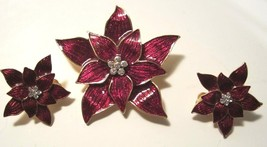 EISENBERG ICE RED ENAMEL CHRISTMAS POINSETTIA BROOCH & CLIP EARRINGS  - $44.99